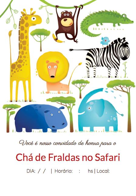 Convite de chá de bebê com tema de safari.