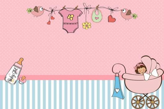 Convite rosa e azul.