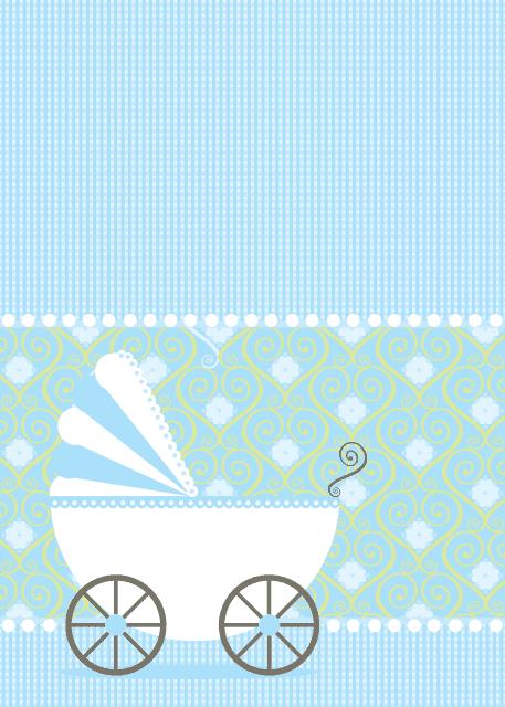Convite azul com carrinho de bebê.