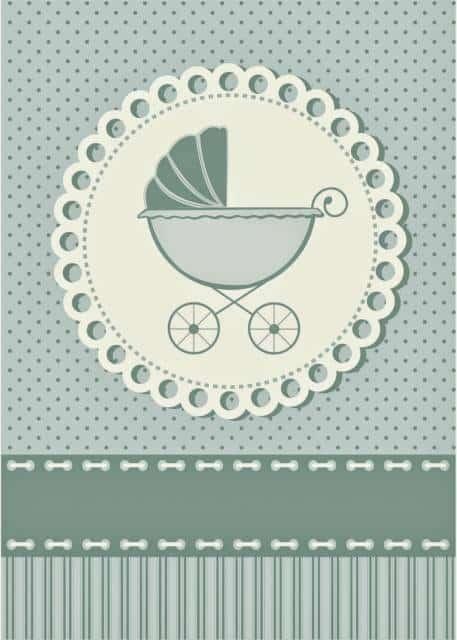 Convite neutro com carrinho de bebê.