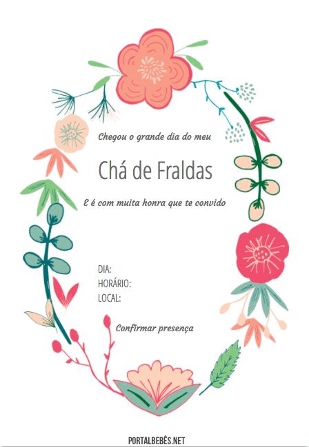 Convite para chá de fraldas com desenho de flores.
