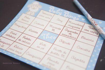 Bingo para chá de bebê.