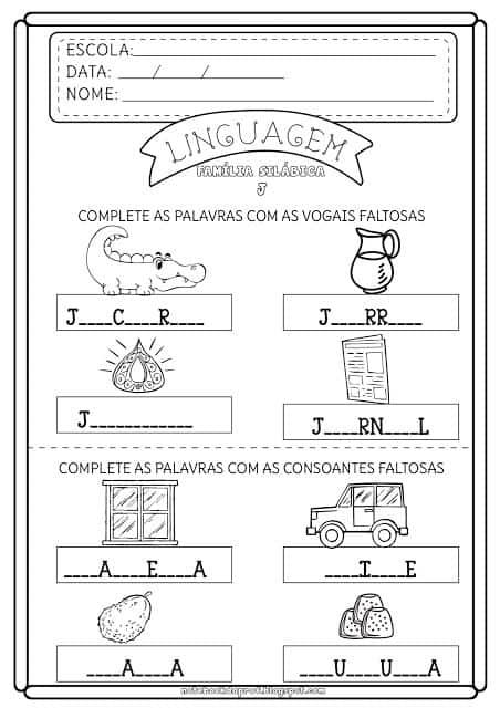 atividade aprender sonoridade letra J