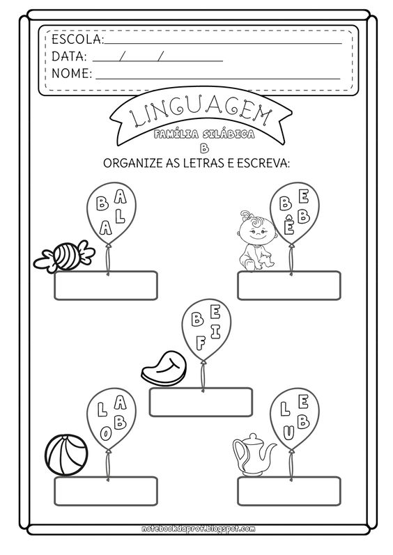 atividade formação de palavras