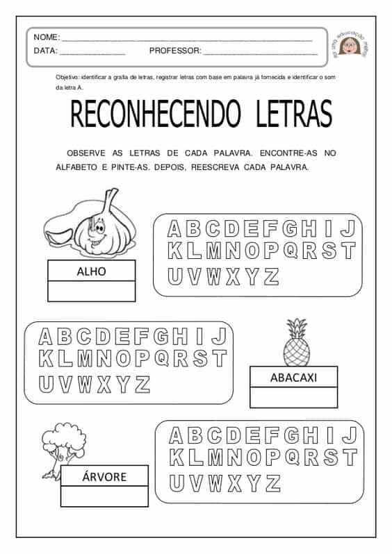 atividade para reconhecer letras