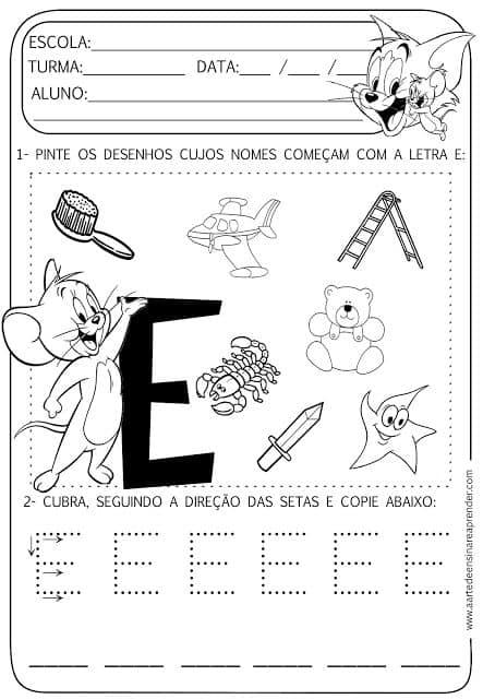 atividade letra E