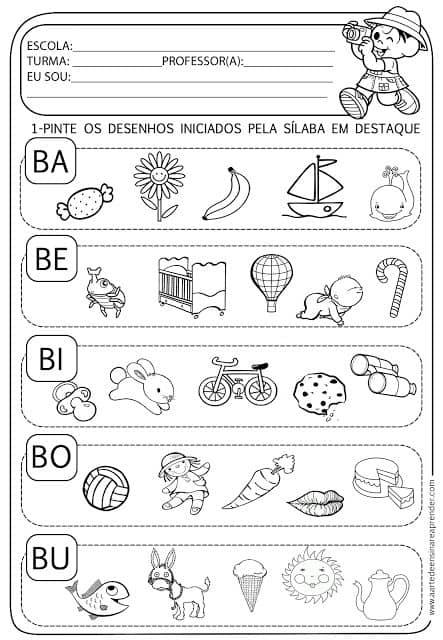 sílabas letra B