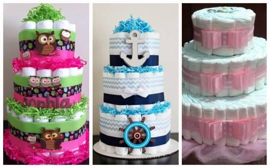 ideias de como fazer bolo de fraldas de 3 andares