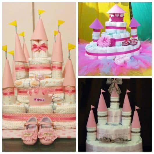 dicas de como fazer bolo de fraldas em forma de castelo