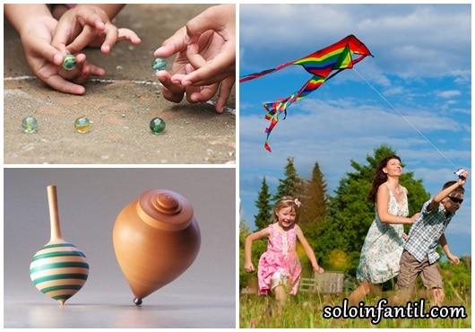 Brinquedos Folclóricos peão, bolinha de gude e pipa