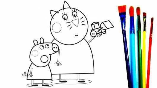 desenhos para colorir Peppa Pig com o gato