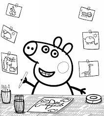 desenhos para colorir Peppa Pig desenhando em casa
