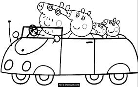 desenhos para colorir Peppa Pig no carro