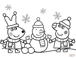 desenhos para colorir Peppa Pig brincando na neve