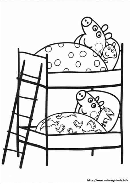 desenhos para colorir Peppa Pig no quarto
