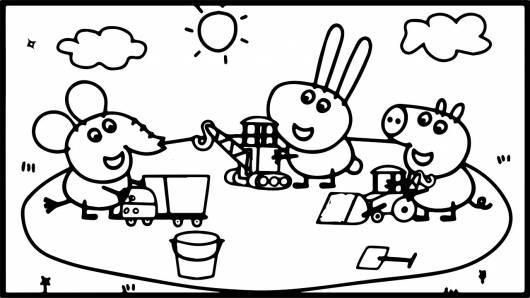 desenhos para colorir Peppa Pig com os amigos