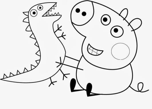 desenhos para colorir Peppa Pig com dinossauro