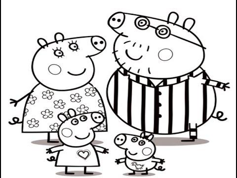 desenhos para colorir Peppa Pig de pijama Família ...