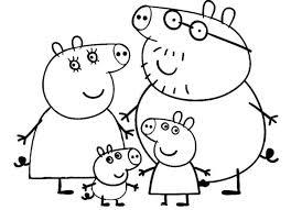 desenhos para colorir Peppa Pig com a família