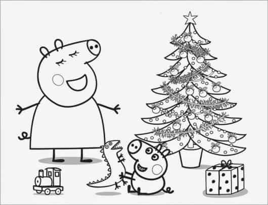 desenhos para colorir Peppa Pig no Natal