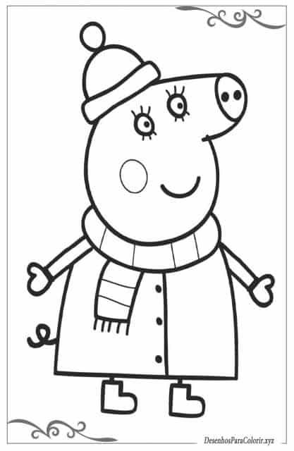 desenhos para colorir Peppa Pig na neve