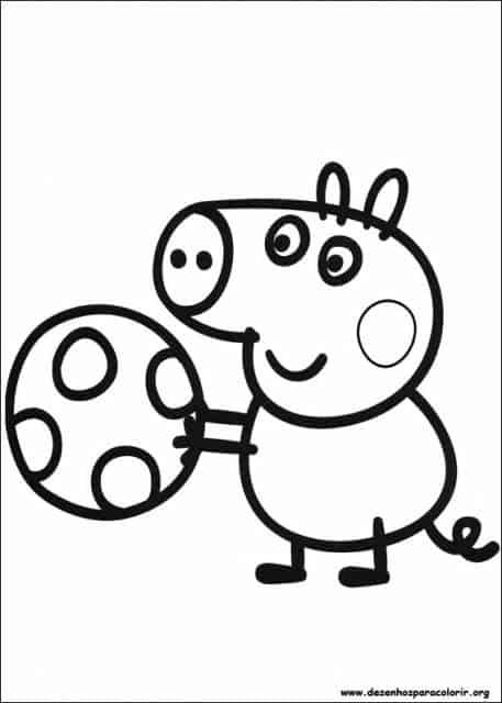 desenhos para colorir Peppa Pig jogando bola
