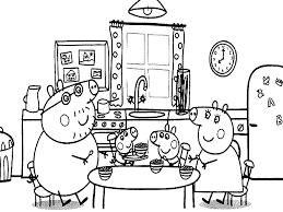 desenhos para colorir Peppa Pig no jantar