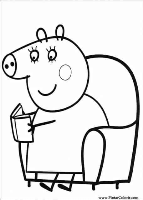 desenhos para colorir Peppa Pig lendo um livro