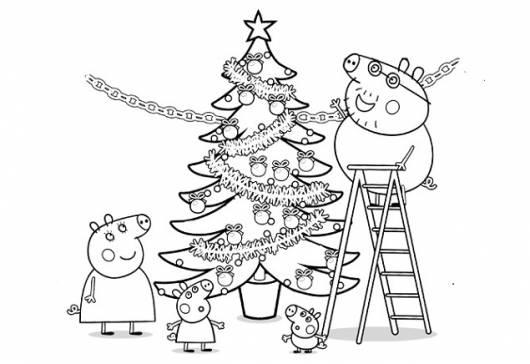 desenhos para colorir Peppa Pig decorando árvore de natal