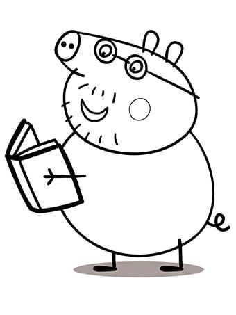 desenhos para colorir Peppa Pig papai lendo
