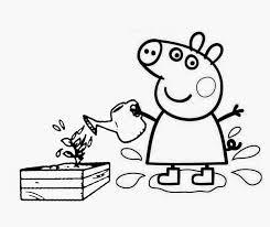 desenhos para colorir Peppa Pig regando plantas