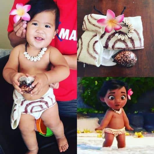 Fantasia Moana baby com colar de conchas