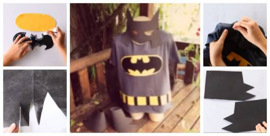 Montagem ensinando a fazer fantasia do Batman.