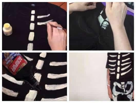 Montagem ensinando a fazer fantasia de esqueleto.