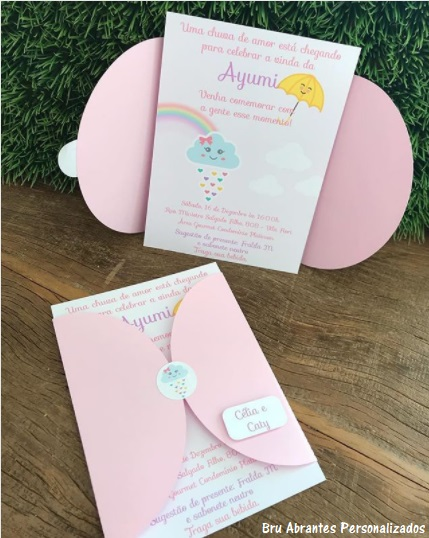 convite rosa nuvem