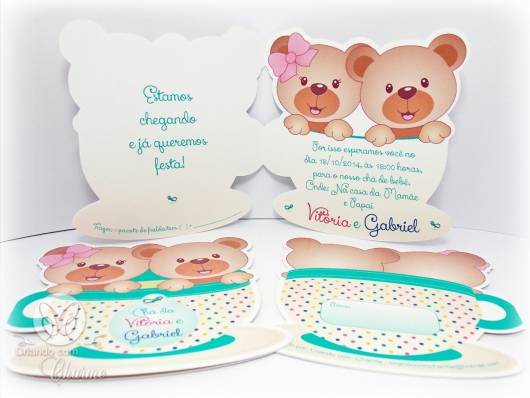 convite ursinho gêmeos