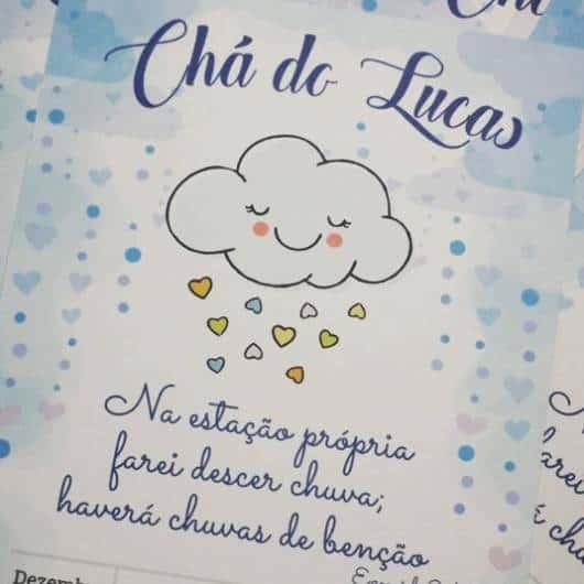 convite menino chuva de benções