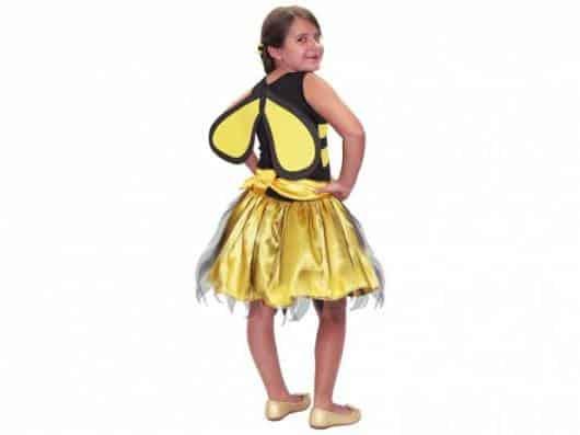 Fantasia de Abelha com saia de cetim amarelo