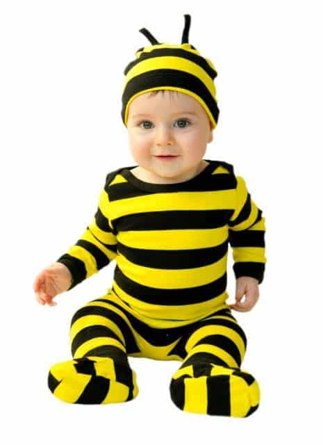 Fantasia de Abelha para bebê macacão listrado amarelo e preto