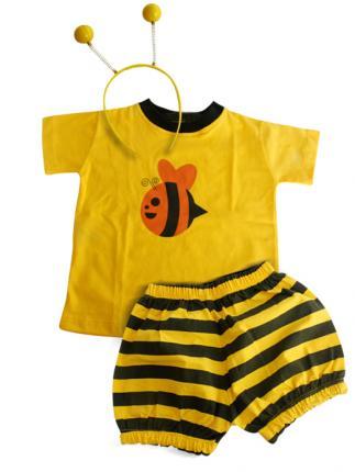 Fantasia de Abelha shorts, camiseta e tiara com anteninhas