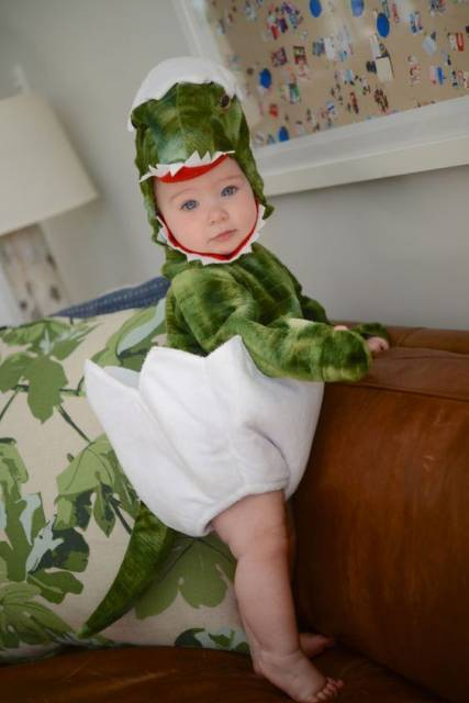 Criança vestida de dinossauro saindo do ovo.