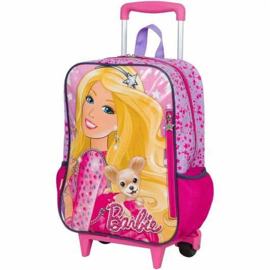 Mochila da Barbie modelo de rodinha estampa Barbie com cachorrinho