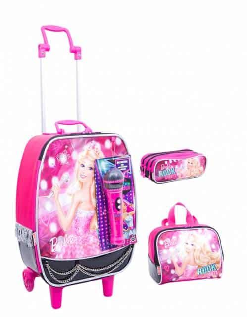 Mochila da Barbie modelo de rodinhas com lancheira e microfone