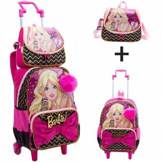 Mochila da Barbie modelo de rodinha Barbie Pop Star com lancheira