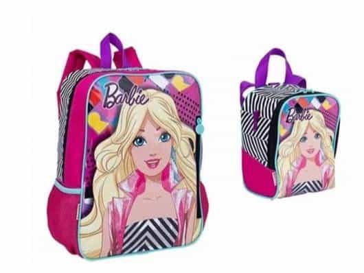 Mochila da Barbie modelo de costa com lancheira