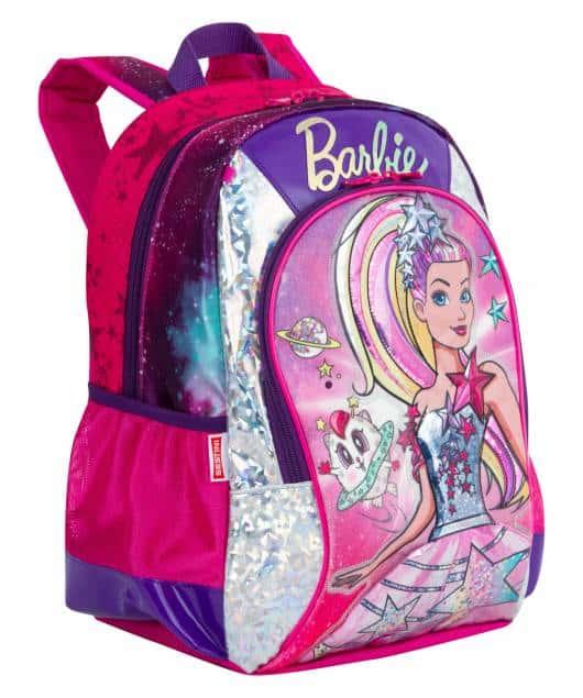 Mochila da Barbie modelo Aventura nas estrelas rosa e roxa