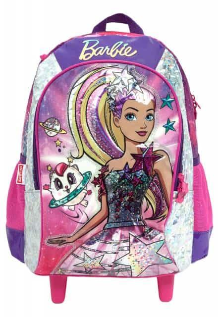 Mochila da Barbie modelo Aventura nas estrelas rosa e roxa com rodinha