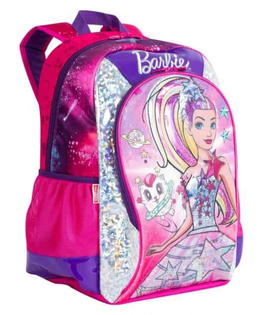 Mochila da Barbie modelo de costa rosa e roxa