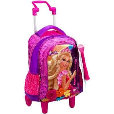 Mochila da Barbie modelo Portal Secreto rosa e roxa com rodinhas e varinha