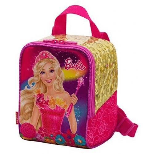 Mochila da Barbie modelo Portal Secreto quadrada rosa e dourada